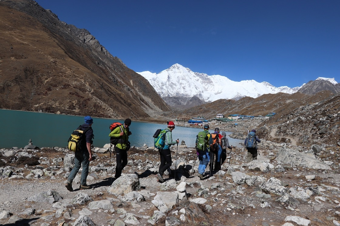 Trekkers During Everest Gokyo Lakes trek