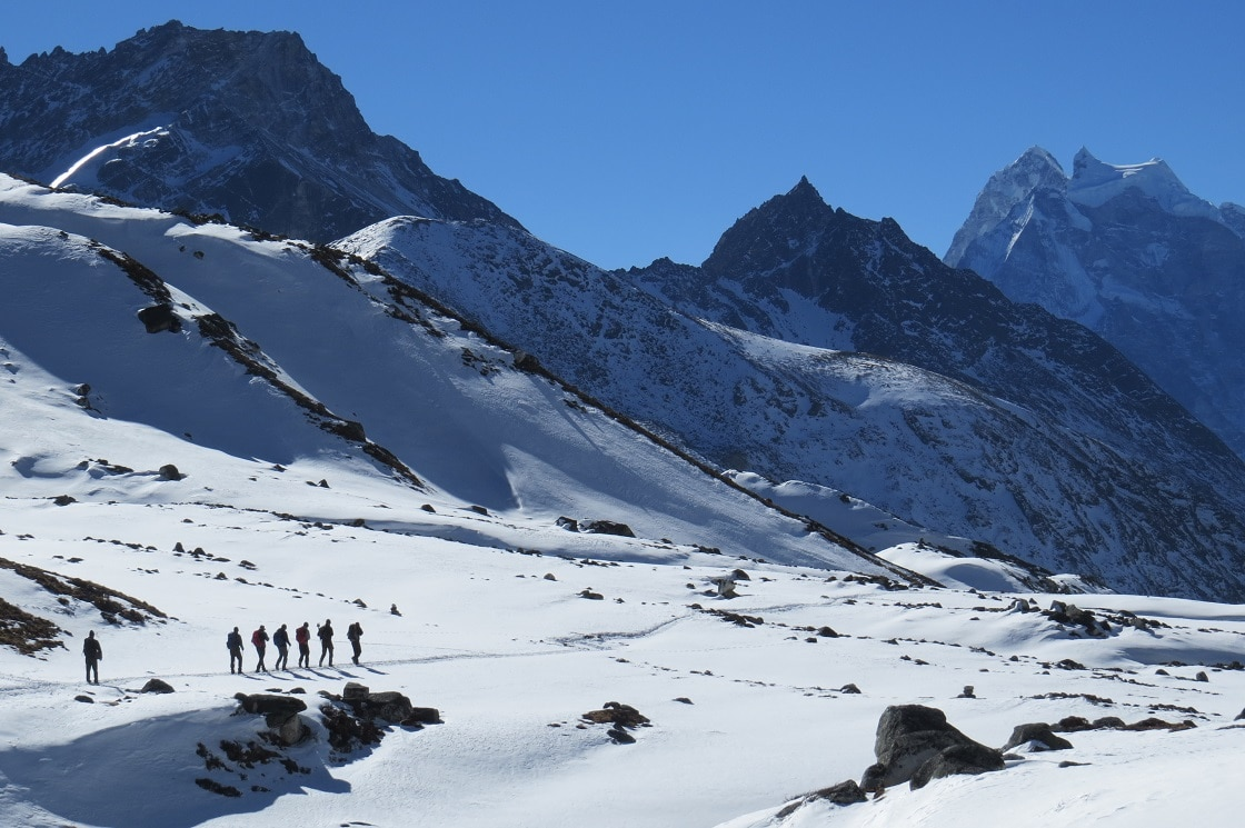 Trekkers during Everest High Pass Trek