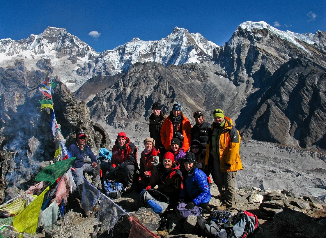 Trekkers taking a photograph during trekking trail of Gokyo Lakes Trek
